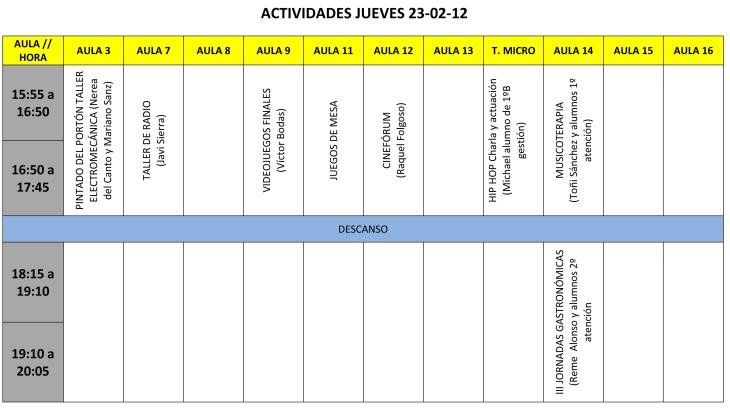 CALENDARIO DE ACTIVIDADES JUEVES 23 tarde