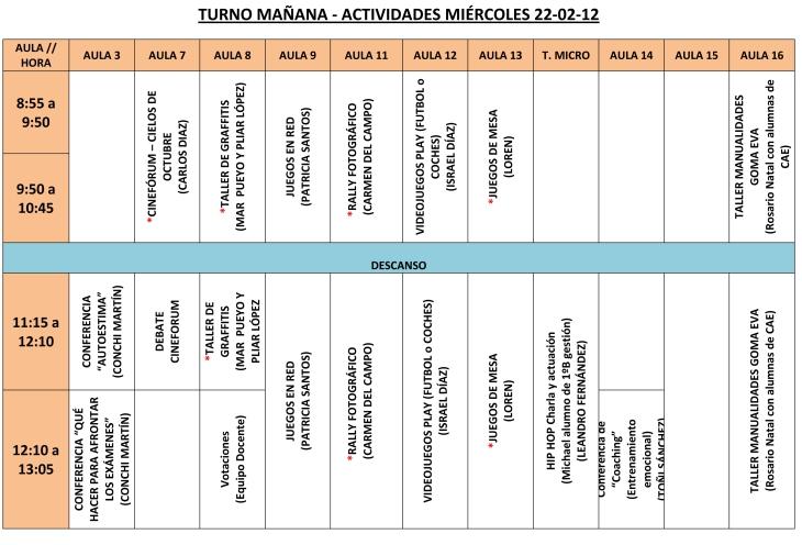 CALENDARIO DE ACTIVIDADES Mañana-1