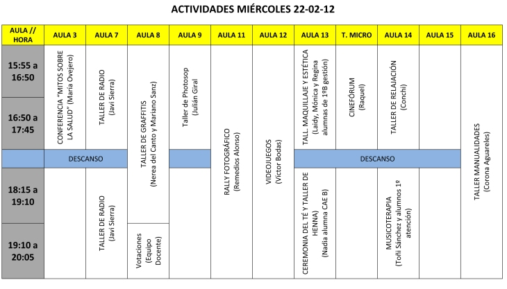 CALENDARIO DE ACTIVIDADES MIÉRCOLES 22 tarde