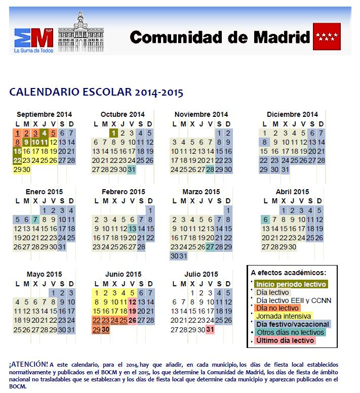 Calendario Laboral Comunidad De Madrid.Calendario Escolar Comunidad De Madrid El Blog De Teide Hease