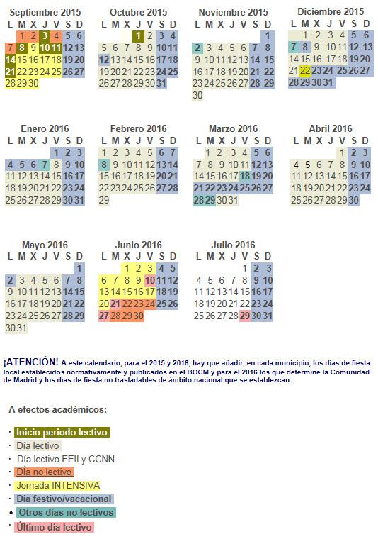 Calendario Escolar Madrid.Calendario Escolar Curso 2015 2016 El Blog De Teide Hease