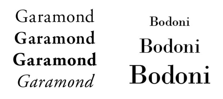 Garamond y Bodoni
