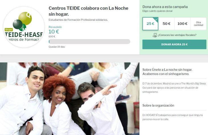 Esta es la página crowdfunding de TEIDE.